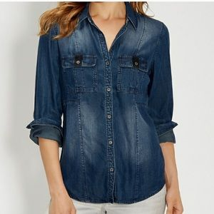 [Maurices] Distressed Lyocell Chambray Tab Pockets